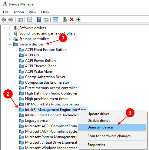 Rollback Intel (R) Management Engine Interface driver in Windows 10