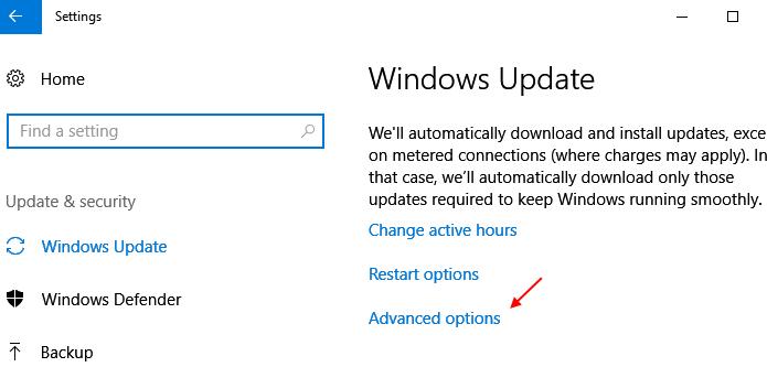 Windows 10 Settings Update Security Advanced Options