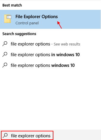 File Explorer Options Windows 10