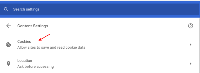 Cookies Chrome Settings