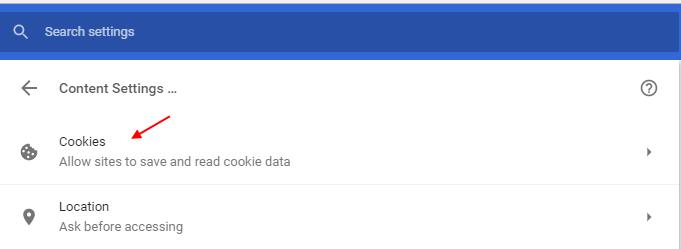 Cookies Chrome Settings