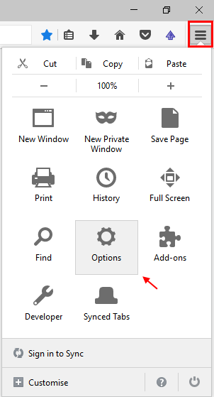 Mozilla Settings Options