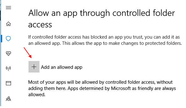 Add Allowed App Controlled Folder Access 1