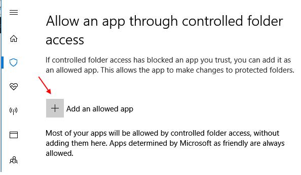 Add Allowed App Controlled Folder Access 1
