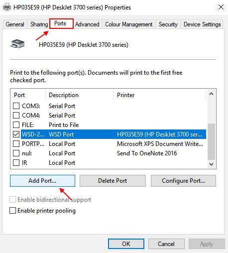 Add Port Windows 10