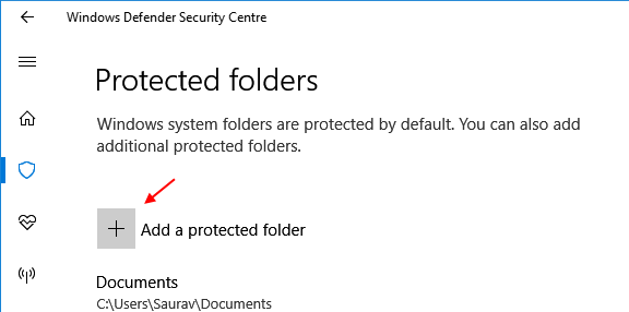 Add Protected Folder Windows 10 Controlled Folder Access 1