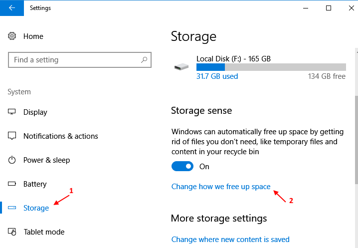 Change How Free Space Windows 10