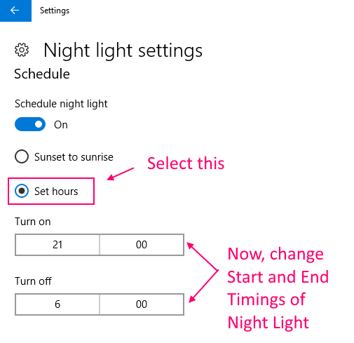 Change Timings Night Light Windows 10 1