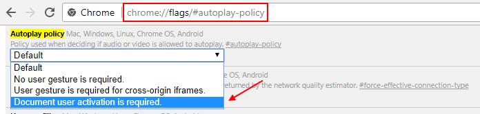 Chrome auto play video Policy