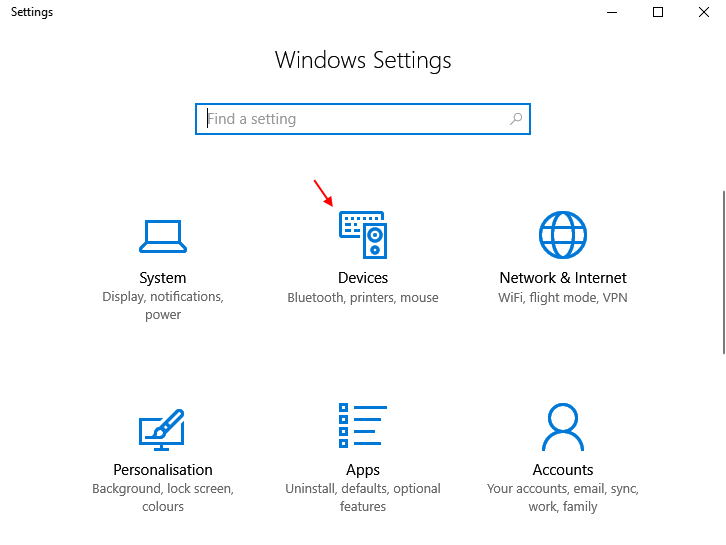 Devices Windows 10 Settings