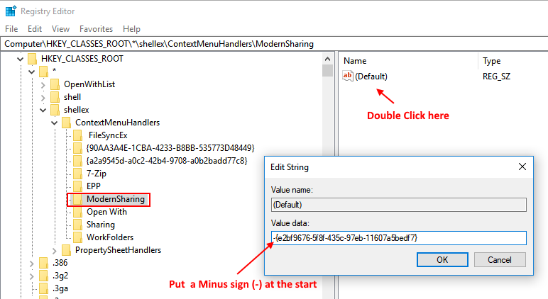 Edit Context Menu Remove Share Give Access Windows 10