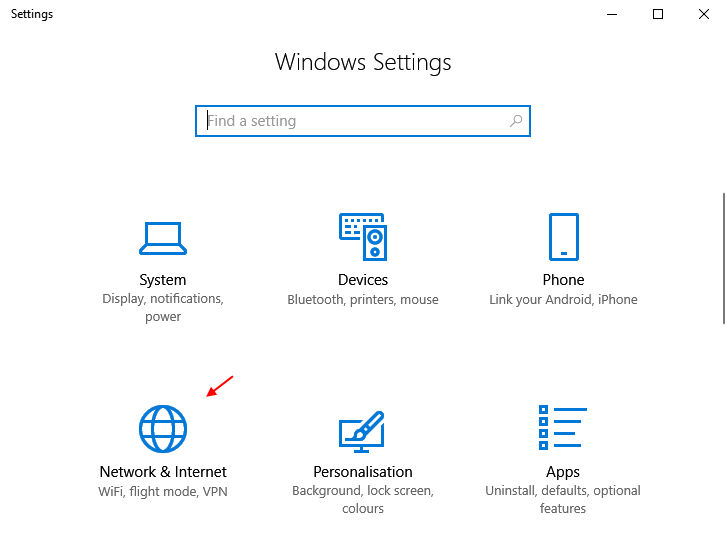 Network Internet Windows 10