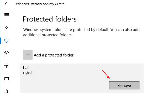 Remove Folder Protected Folder Controlled Folder Access 1