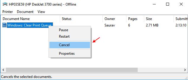 Right Click Cancel Print Job Windows 10