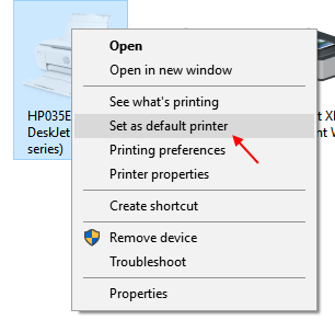 Set Default Printer Window 10