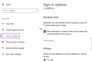 Sign In Options Dynamic Lock Windows 10 1