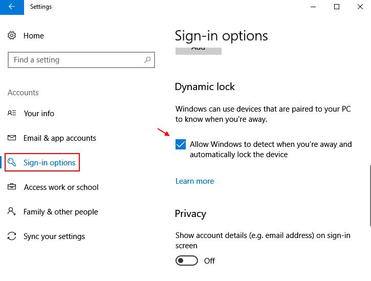 Sign In Options Dynamic Lock Windows 10 1