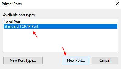 Standard Tcp Ip Port Printer Windows 10