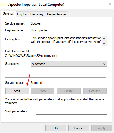 how to start spooler service in windows 7