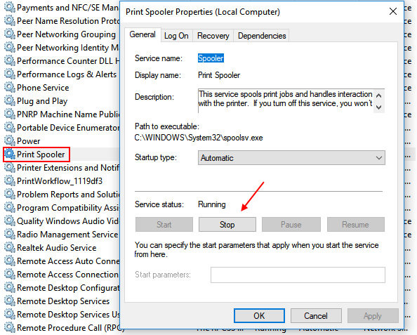 Stop Print Spooler Service Windows 10