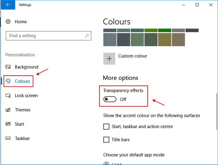Transparency Effects Windows 10