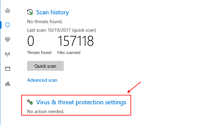 Virus Thret Protection Settings Windows 10