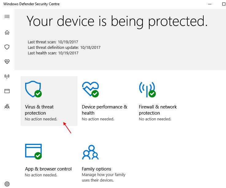 Virus Thret Protection Windows 10