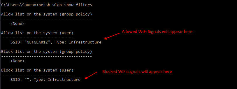 Block All Other Wifi Signals List Show Filter Command