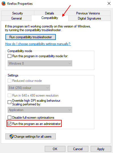 Compatibility Run As Administrator Always