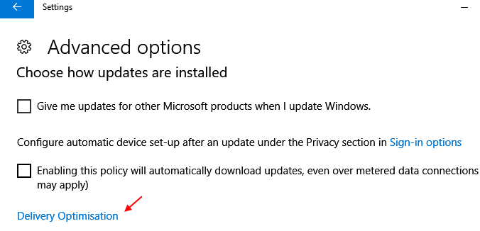 Delivery Optimization Windows 10