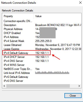 Details Gateway Router Address Windows