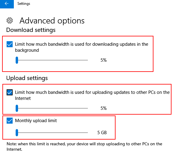 Limit Windows 10 Update Download Internet Bandwidth Date