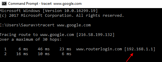 Router Ip Address Tracert