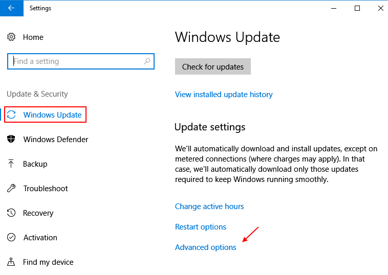Settings Update Security Windows 10 Advanced Options