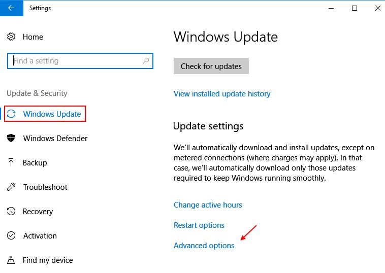 Settings Update Security Windows 10 Advanced Options