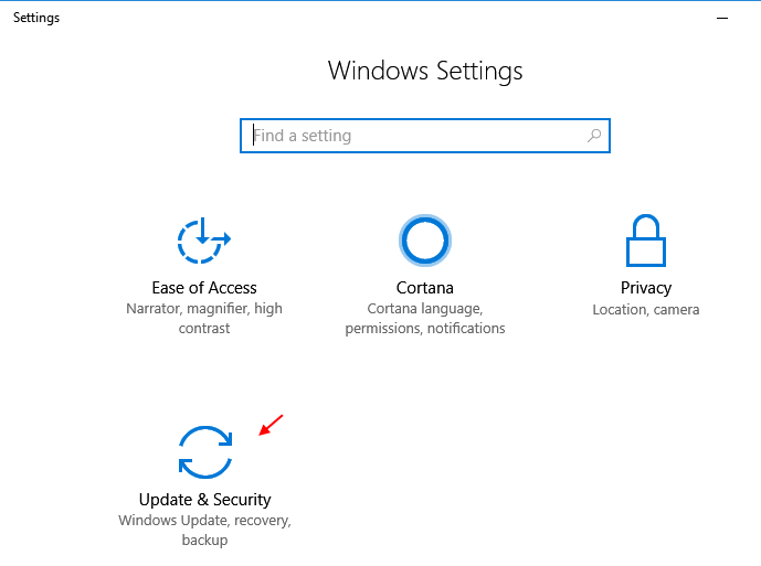 Settings Update Security Windows 10