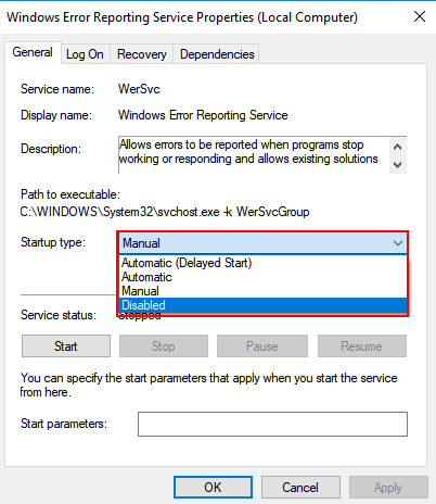 Startup Disabled Windows Error Reporting Service