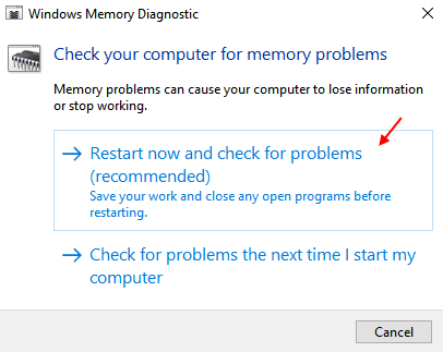 Windows Memory Diagnostic Tool 1