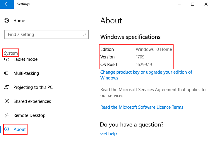 Windows Version Edition Build Shown