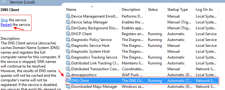 Dns Client Service Restart In Windows