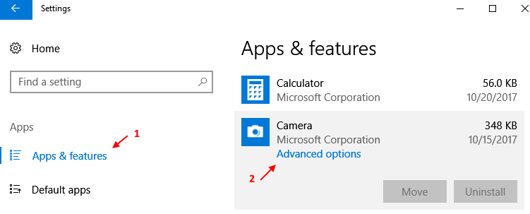 Apps Features Settings Windows 10 Camera Advanced Options