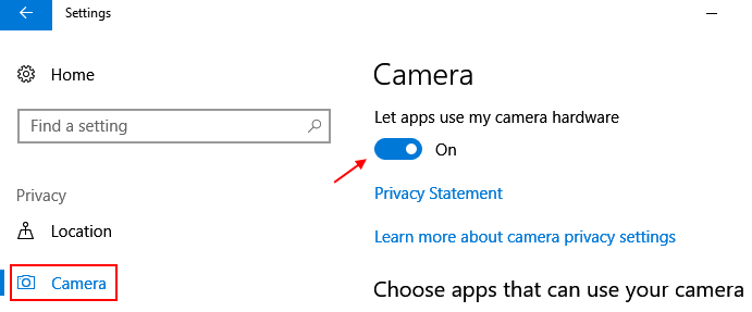 Camera Lets App Use Camera Windows 10