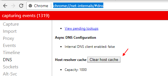 Chrome Clear Host Cache