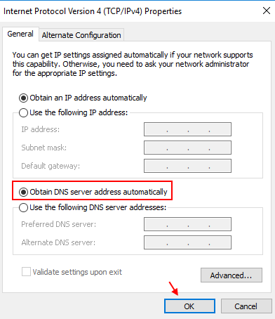 If Obtain Dns Server Automatically Windows 10