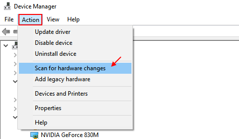 Scan For Hardware Changes