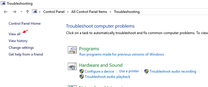 View All Troubleshooters Windows 10