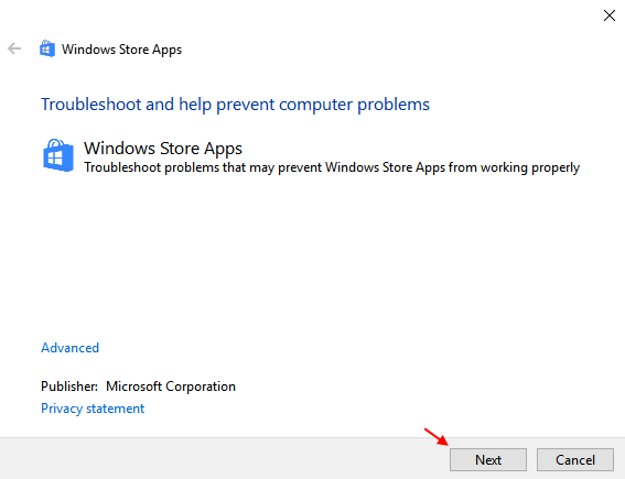 Windows Store Apps Troubleshooter 1