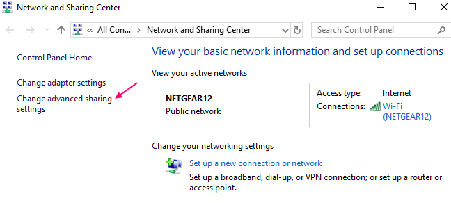 Change Adapter Sharing Settings Windows 10