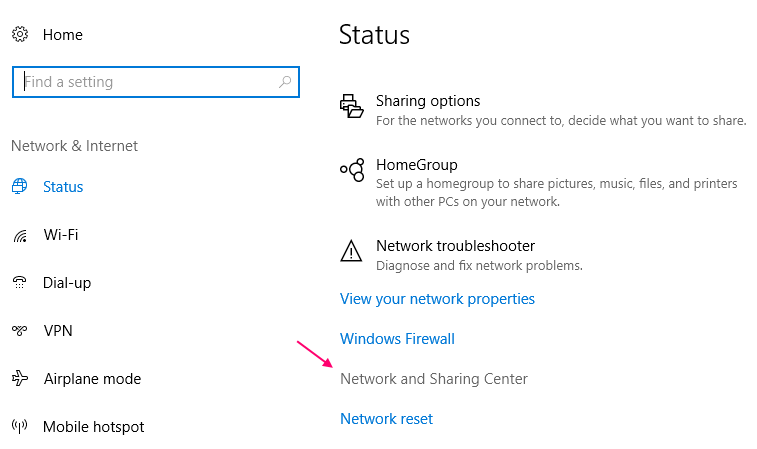 Status Networking Sharing Centre