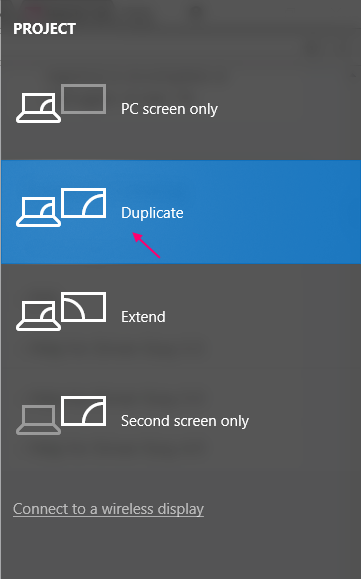 Duplicate Screen Windows 10